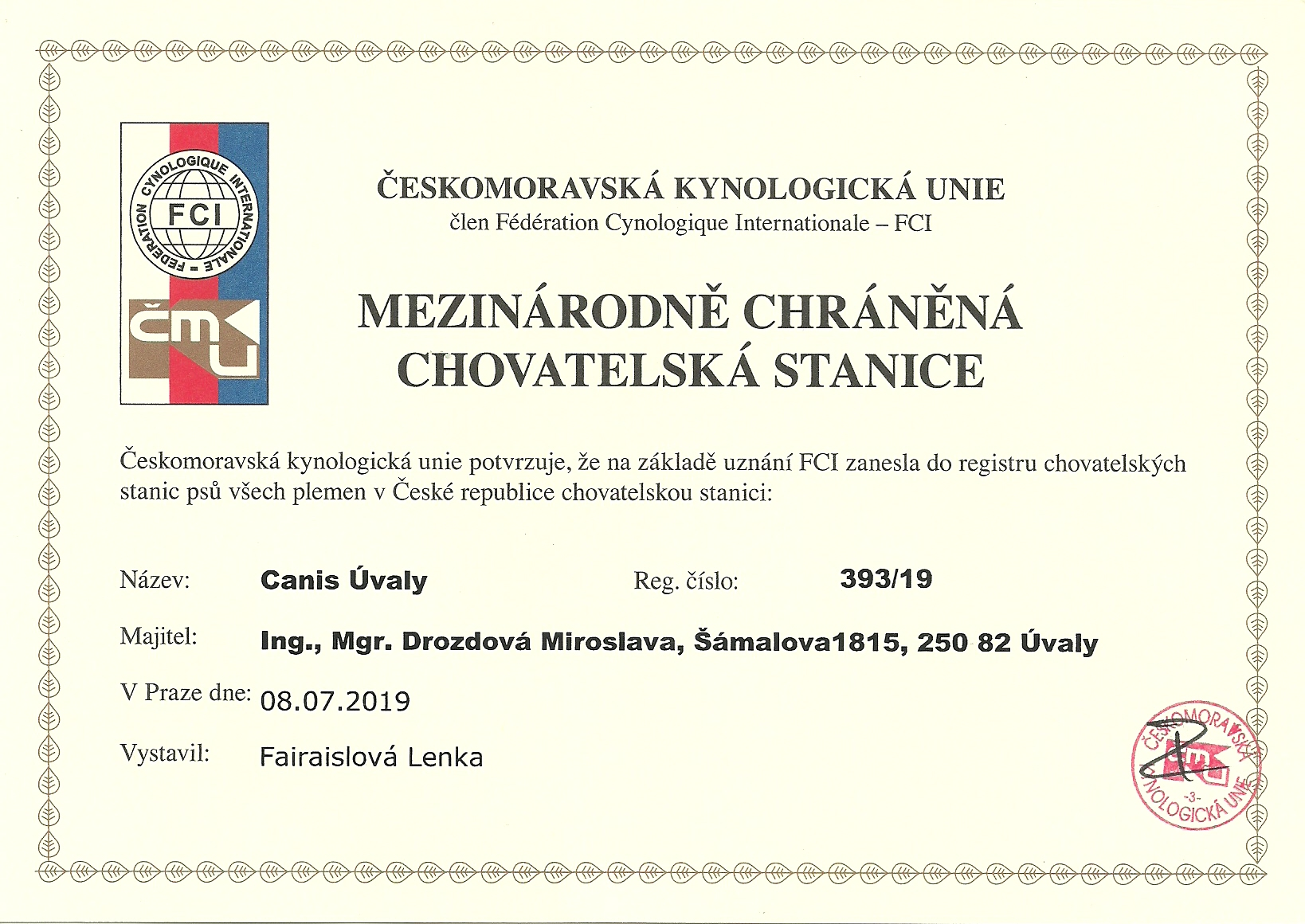 CanisUvaly certificate
